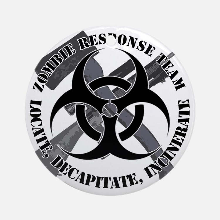 Zombie Response Team White Border Round Ornament