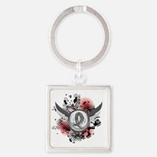 D Brain Cancer Grey Ribbon And Win Square Keychain