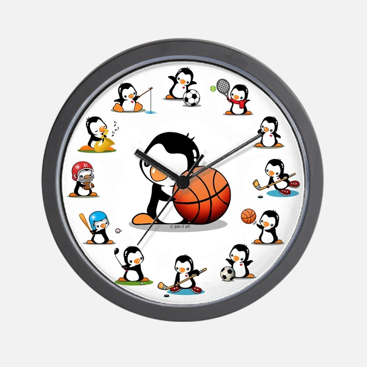 Sports Penguins Wall Clock