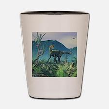 Dilophosaurus, artwork Shot Glass