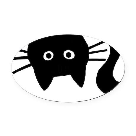Black Cat Upside Down Oval Car Magnet