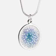 Dandelion seed head Silver Round Necklace