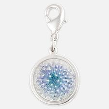 Dandelion seed head Silver Round Charm