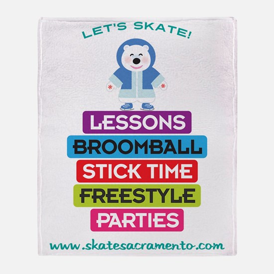 Lets Skate Frosty Bear Throw Blanket