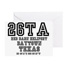 TEXAS - AIRPORT CODES - 26TA - RED B Greeting Card