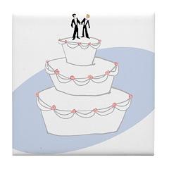Two Grooms Wedding Cake Tile Coaster