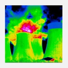 Cooling towers, thermogram Tile Coaster