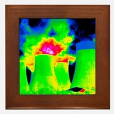 Cooling towers, thermogram Framed Tile