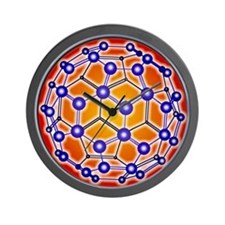 Computer graphic of a buckyball (C60) Wall Clock