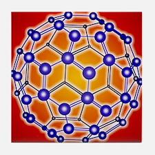 Computer graphic of a buckyball (C60) Tile Coaster