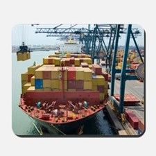 Container ship and port Mousepad