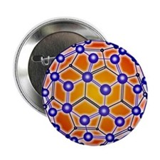 "Computer graphic of a buckyball (C60) 2.25"" Button"