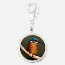 Common kingfisher on a branch Silver Round Charm