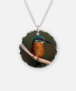 Common kingfisher on a branc Necklace Circle Charm
