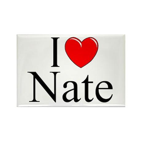 """""""I Love (Heart) Nate"""" Rectangle Magnet"""