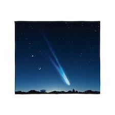 Comet in the night sky, artwork Throw Blanket