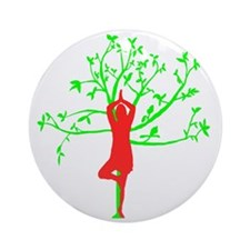 Yoga Tree Pose Round Ornament