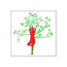 "Yoga Tree Pose Square Sticker 3"" x 3"""