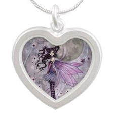 purple passion fairy by Moll Silver Heart Necklace