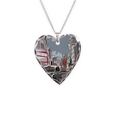 Taxi on London street Necklace Heart Charm