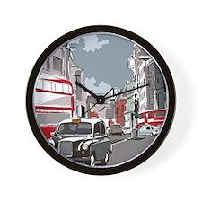 Taxi on London street Wall Clock