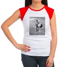 Woman running with beac Tee
