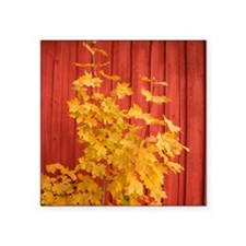 "Yellow leaves against a red Square Sticker 3"" x 3"""