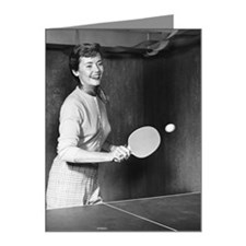 Woman playing table tennis Note Cards (Pk of 20)