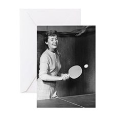 Woman playing table tennis Greeting Card