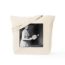 Woman playing table tennis Tote Bag