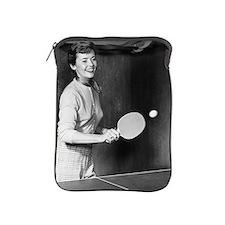 Woman playing table tennis iPad Sleeve