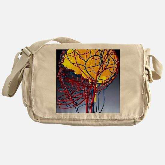 Circulatory system and brain, artwor Messenger Bag