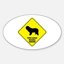 Sheepdog Crossing Oval Decal