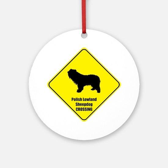 Sheepdog Crossing Ornament (Round)