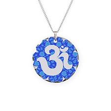om floral dark blue Necklace