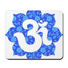 om floral dark blue Mousepad