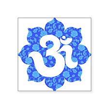 "om floral dark blue Square Sticker 3"" x 3"""