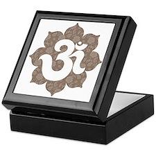 om floral brown gray Keepsake Box