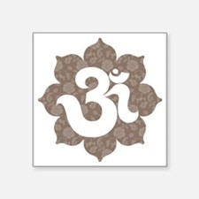 """om floral brown gray Square Sticker 3"""" x 3"""""""