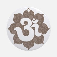 om floral brown gray Round Ornament