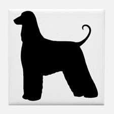 Afghan Hound Silhouette Tile Coaster