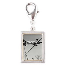 Male pole-vaulter clearing b Silver Portrait Charm