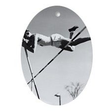 Male pole-vaulter clearing bar Oval Ornament