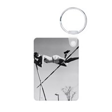 Male pole-vaulter clearing Keychains