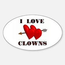 LOVE CLOWNS Oval Decal