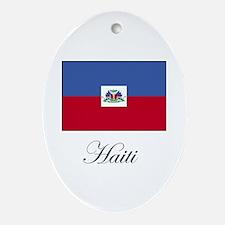 Haiti - Haitian Flag Oval Ornament