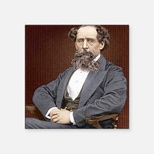 "Charles Dickens, British au Square Sticker 3"" x 3"""