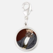 Charles Dickens, British autho Silver Round Charm