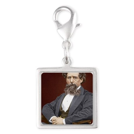 Charles Dickens, British auth Silver Square Charm