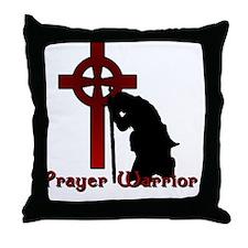 Prayer Knight Red Throw Pillow
